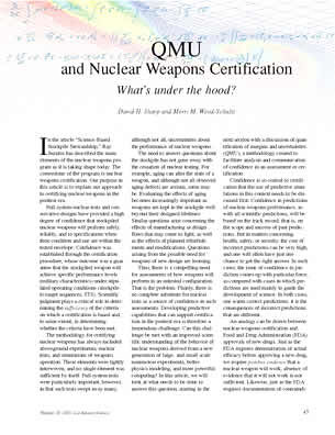 QMU and Nuclear Weapons Certification