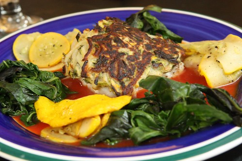 Zucchini Crusted Cod with Tomato Reduction, Sauteed Zucchini, and Wilted Garlic Spinach