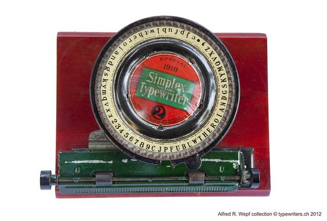 """Simplex Typewriter 2 """"Special 1910"""""""