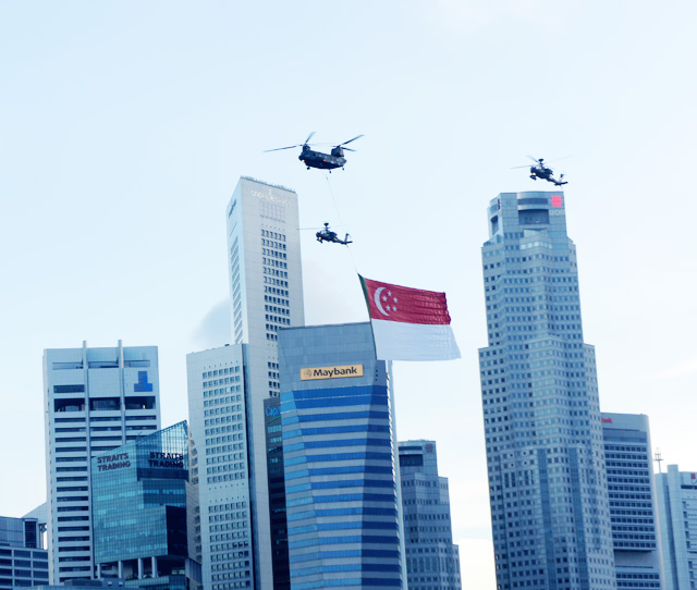 NDP SINGAPORE FLAG FLYING ACROSS 2012