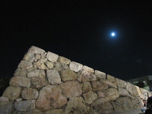Stone wall and moon