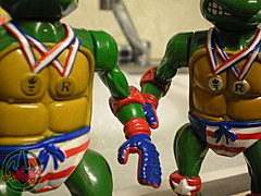 """TURTLE GAMES"" TEENAGE MUTANT NINJA TURTLES :: SUPER-SWIMMIN' RAPH xi / ..with ""STICKER-MEDAL"" variant  (( 1992 ))"