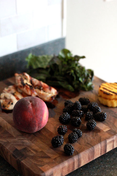 blackberry, polenta & chicken salad