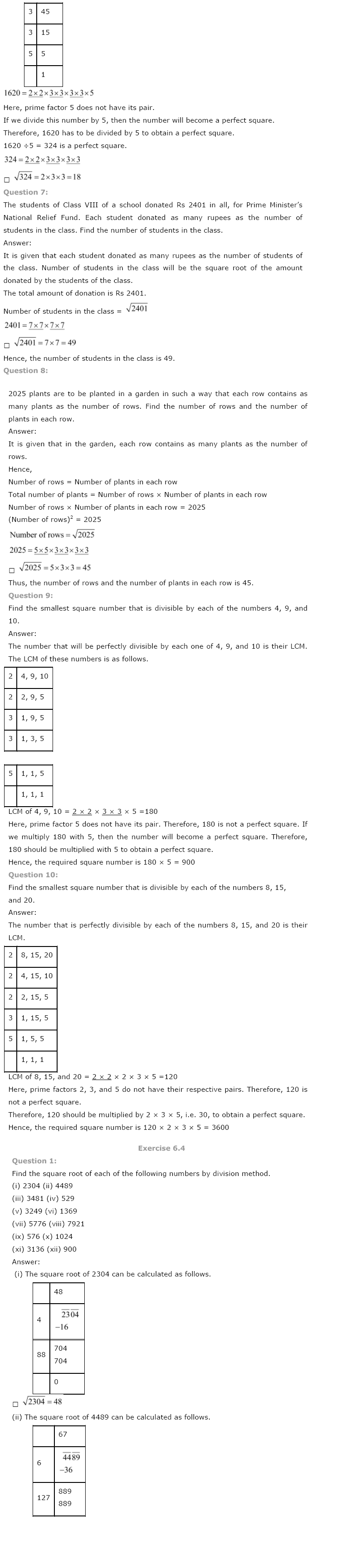 NCERT Solutions For Class 8 Maths Ch 6 Squares And Square Roots PDF Download