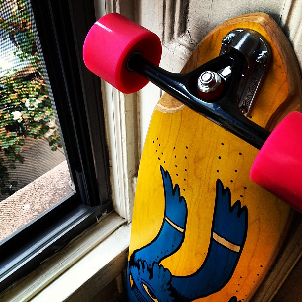 Longboard ready for the road. Quicksand show tonight. Today is Stuff I Didn't Get Around to Doing in the '90s Day.