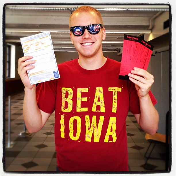 Obama shades, Beat Iowa shirt, #ObamaISU tix, and updated his voter reg. Well done Bill.