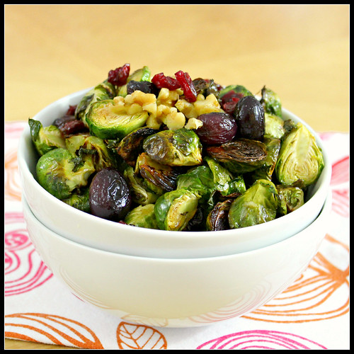 Roasted Brussels Sprouts with Cranberries and Walnuts