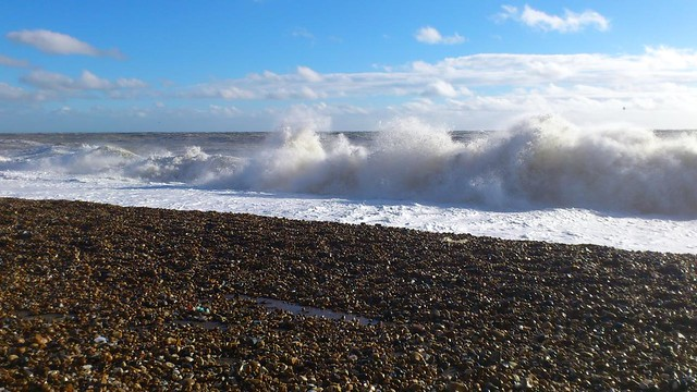 Rough seas off Hastings sea front.