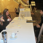 A student interviewing with recruiters --