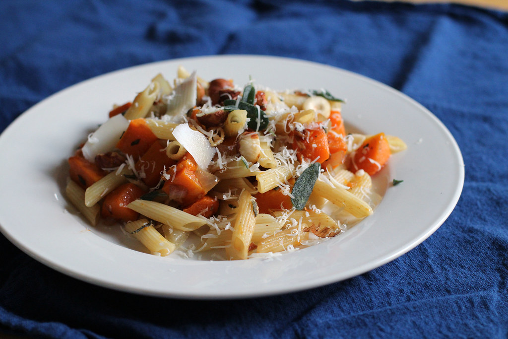 penne with roasted butternut squash, sage, parmesan and hazelnuts