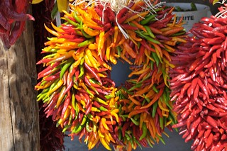 Multi-colored wreath ristra
