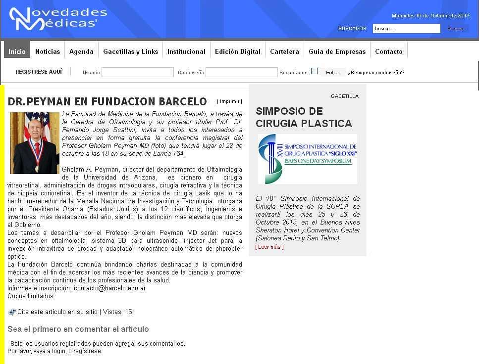 Site Novedades Médicas (nota) 16-10-13