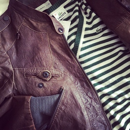 Shopping finds included a #Zara leather jacket and a #Lacoste striped pullover #thrifting