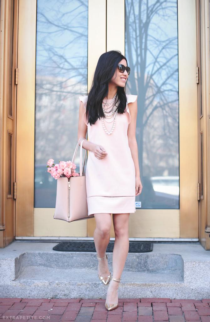 pink dress gold heels2