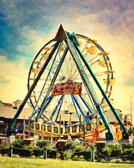 Ferris Wheel at Kemah, Texas (Digital Impasto Painting)