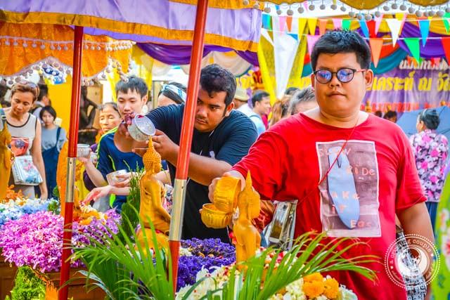 Wat Pho on Songkran Water Festival Bangkok