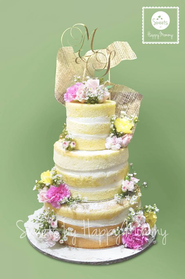 Beautiful Naked Wedding Cake by Ciarra of Sweets by Happy Mommy