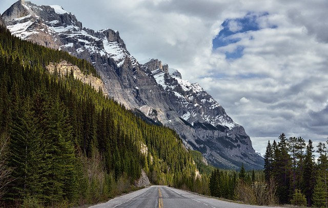 The Road Ahead with Mountain Peaks (Icefields Parkway)