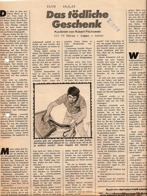 Robert Pilchowski: Das tödliche Geschenk, in: TV Hören und Sehen 21/73 vom 19.5.1973