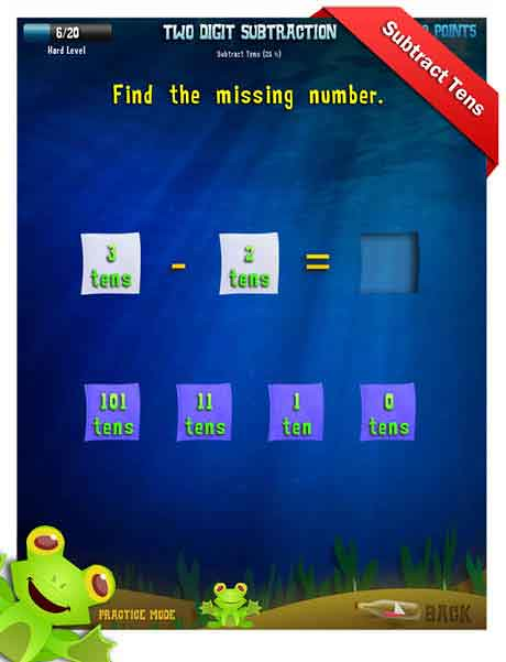 Grade 2 Math App - two digit subtraction