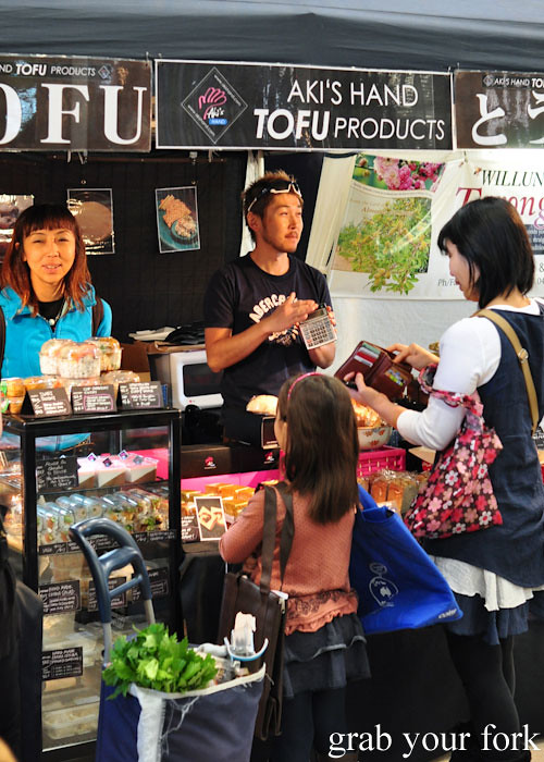 Aki's tofu products at the Adelaide Showground Farmers Market