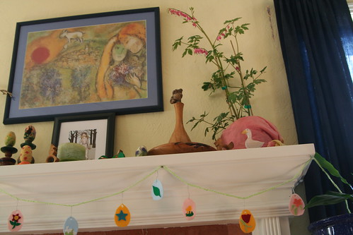 Easter Nature Table (Mantel) with Felt Egg Ornaments