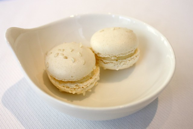 Mini Vanilla French Macarons at Jean Georges New York
