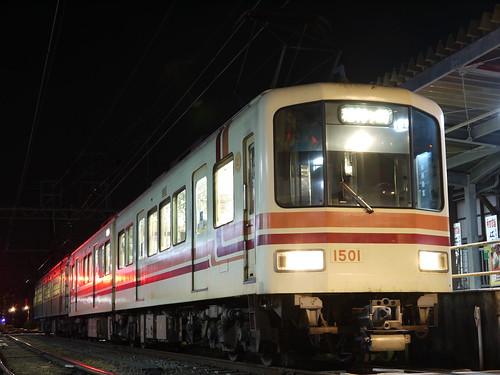 江ノ電1501F+305F稲村ヶ崎行き最終電車@長谷