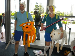 Finn and Fionna with Jake and Kate from Adventure Time