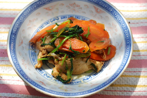 Carrot, chicken & cilantro stir-fry