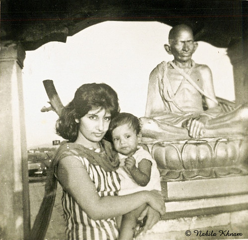 At Juhu Beach, Bombay, India - 1963, with statue of Mahatma Gandhi. by nabila4art