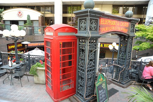 Entrance to the Elephant and Castle, pub & restaurant, red British phone box, arch, Red Lion Hotel, Seattle, Washington, USA by Wonderlane