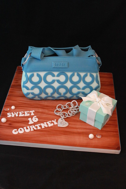 Coach purse cake with Tiffany box