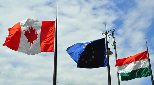 Canadian Flag Flying Outside the Canadian Owned Four Seasons Hotel in Budapest