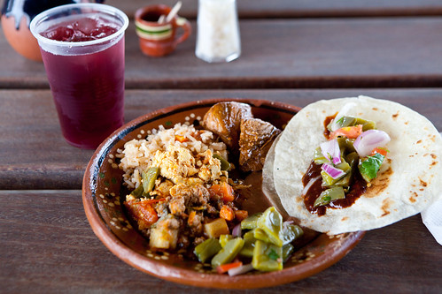 My Mexican-style lunch with hibiscus tea