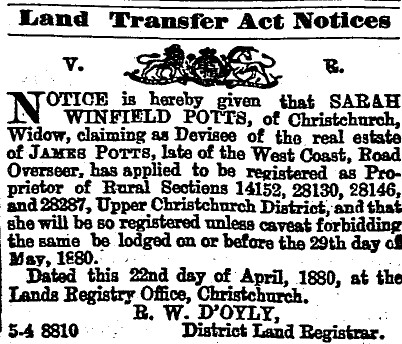 Press 5 May 1880 Land Transfer Act Notice for Sarah Winfield Potts