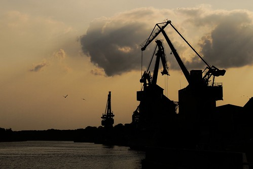 sunset sky cloud water crane quay pix42day
