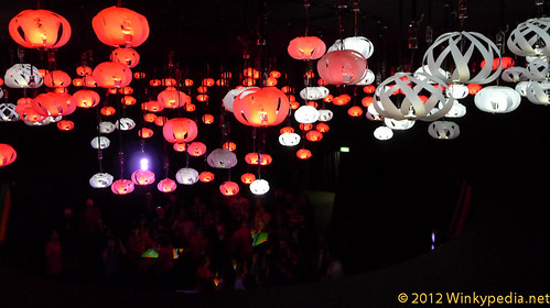 Light installation  in the Coca Cola Pavilion, London Olympic Games 2012
