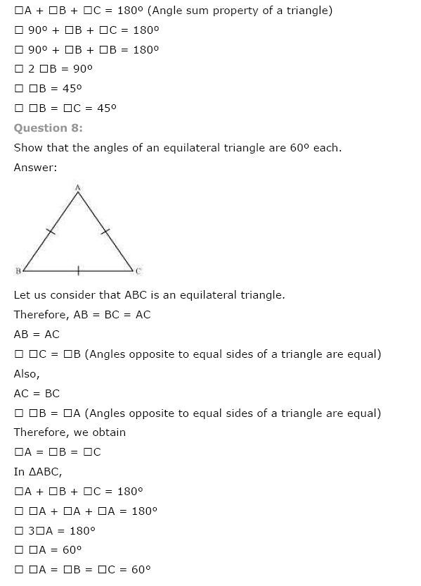 NCERT Solutions For Class 9 Maths Solutions Chapter 7 Triangles PDF Download