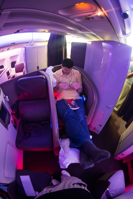August 2012, Yao Ming on a Virgin Atlantic flight to Africa