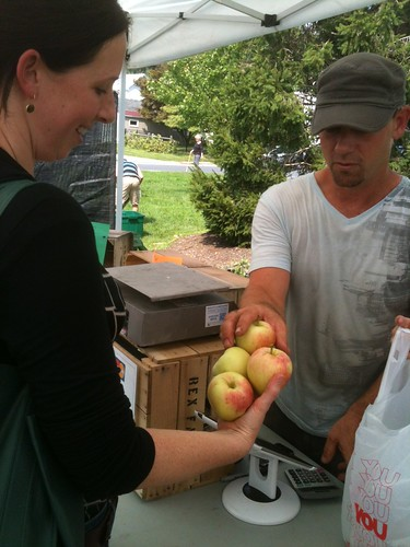 Buying apples from Troy Lehman of Rex Fruit Farm at the farmers market in Camp Hill, Pennsylvania