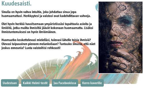 Aistitestitulos - kuudes aisti (Finnish)