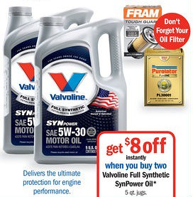 photo about Printable Motor Oil Coupons known as $12/2 Valvoline SynPower Engine Oil Printable Coupon + $8.00