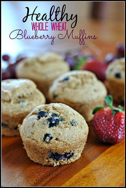 Healthy Whole Wheat Blueberry Muffins 1