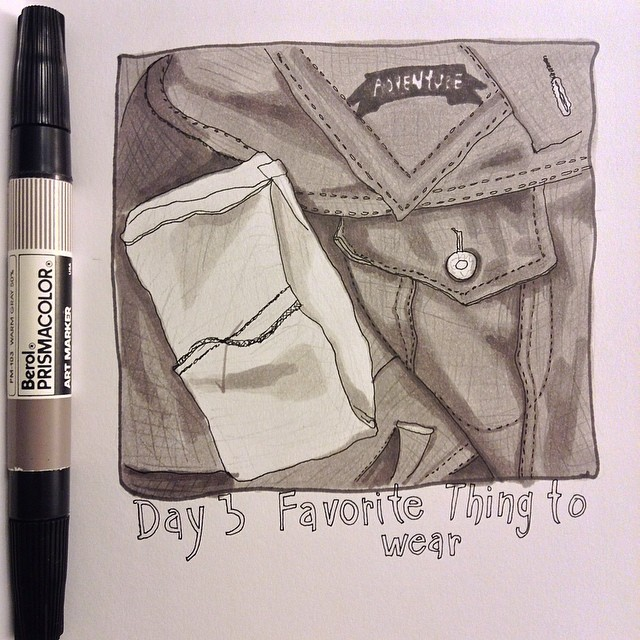 #15daydrawingchallenge jean jacket