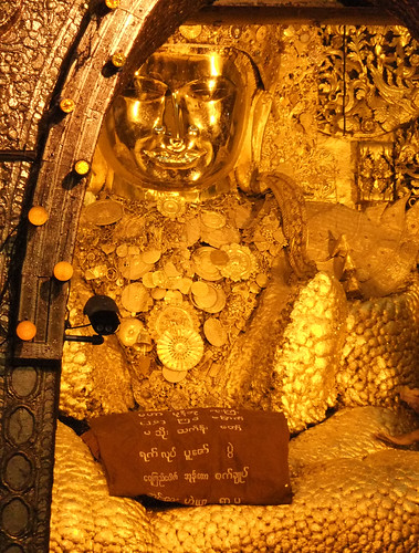 the Lumpy Gold Buddha at the Mahamuni Pagoda in Mandalay