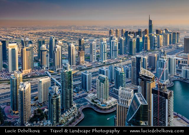 United Arab Emirates - UAE - Dubai - Dubai Marina at the end of the day and its last rays of light