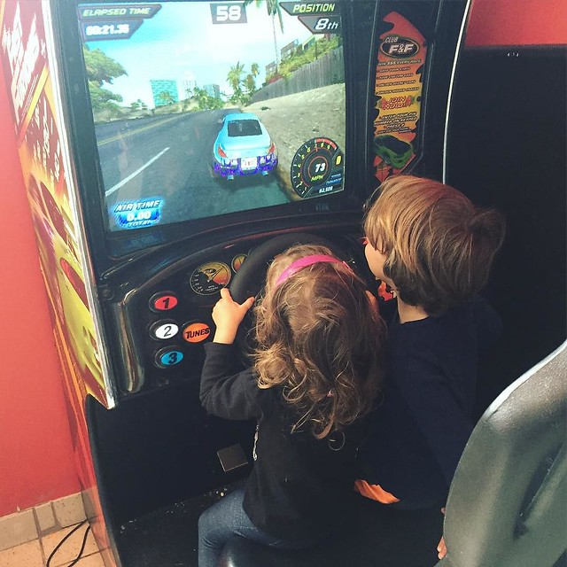 Took the kids to see the Jungle Book (great!) and stopped for one arcade game after. Jameson did the gas pedal for Coraline.