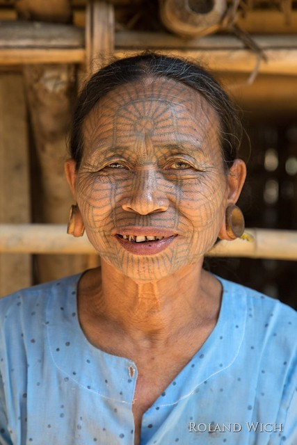 Myanmar - Chin Woman with Facial Tatoo