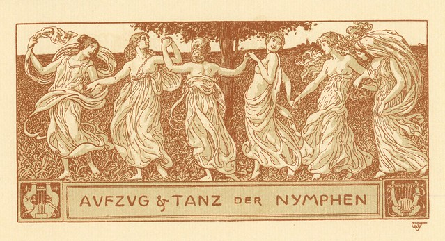 Wilhelm Volz.  Aufzug und Tanz der Nymphen (Procession and Dance of the Nymphs).  Lithograph.  Berlin, 1898.  Pan. Vol. IV, no. 2.
